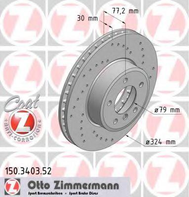 Диск гальмівний ZIMMERMANN 150340352