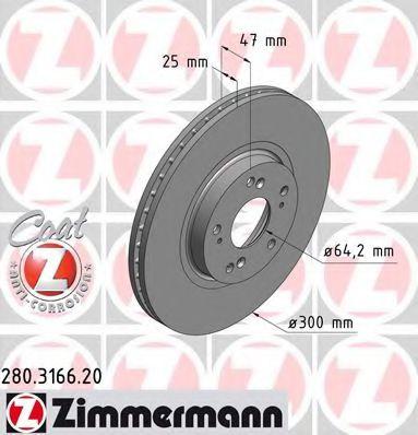 Диск гальмівний ZIMMERMANN 280316620