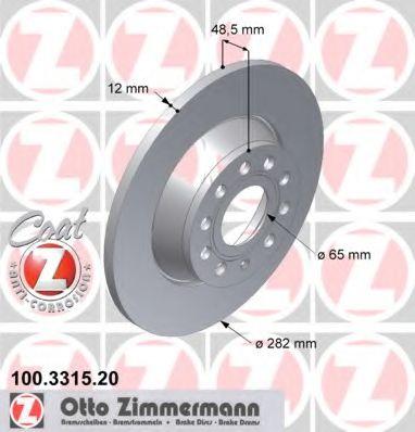 Диск гальмівний ZIMMERMANN 100331520
