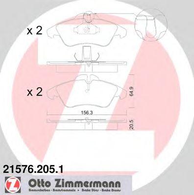 Колодки гальмівні дискові ZIMMERMANN 215762051