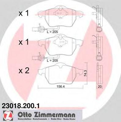Колодки гальмівні дискові ZIMMERMANN 230182001