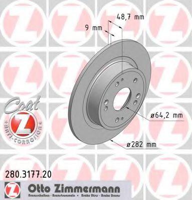 Диск гальмівний ZIMMERMANN 280317720