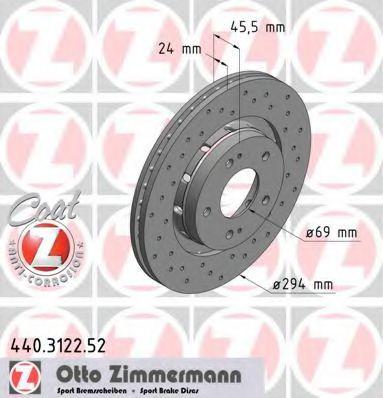 Диск гальмівний ZIMMERMANN 440312252