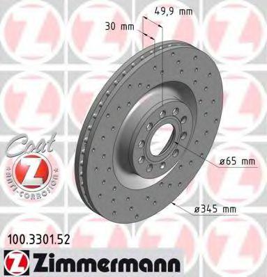 Диск гальмівний ZIMMERMANN 100330152