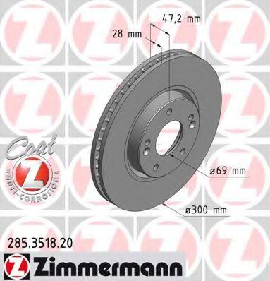 Диск гальмівний ZIMMERMANN 285351820