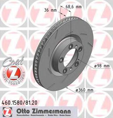 Диск гальмівний ZIMMERMANN 460158120
