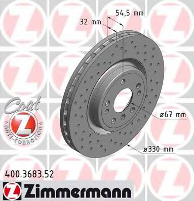 Диск гальмівний ZIMMERMANN 400368352