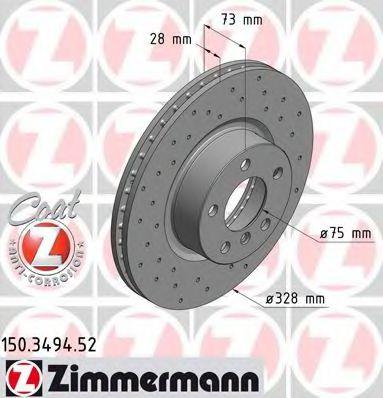 Диск гальмівний ZIMMERMANN 150349452