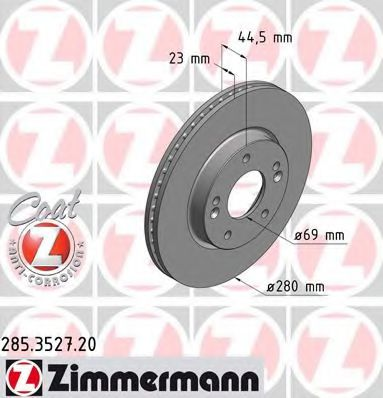 Диск гальмівний ZIMMERMANN 285352720