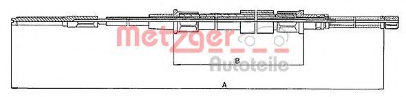 Трос, стояночная тормозная система METZGER арт. 107401