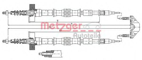 Трос, стояночная тормозная система METZGER арт. 115861