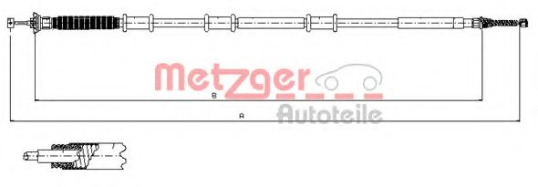 Трос, стояночная тормозная система METZGER арт. 120737