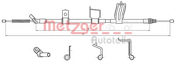Трос, стояночная тормозная система METZGER арт.